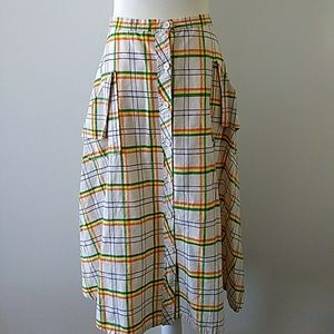 Vintage Plaid Button Front Midi Skirt With Pockets